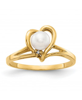 14k 4.5mm FW Cultured Pearl AA Diamond ring