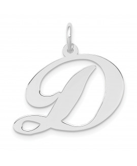 14k White Gold Large Fancy Script Initial D Charm