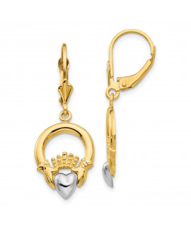 14k Two-tone Claddagh Leverback Earrings