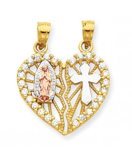10k Two-tone CZ Religious Break-apart Heart Pendant