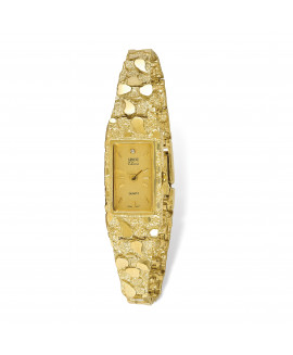 10k Champagne 15x31mm Dial Rectangular Face Nugget Watch