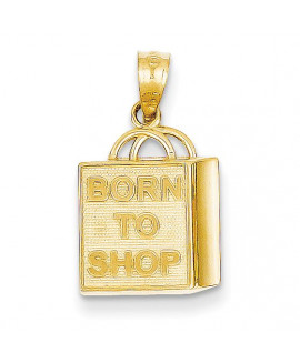 14k Shopping Bag Born to Shop Pendant