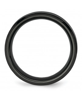 Ceramic Beveled Edge, Black Faceted 8mm Polished Band