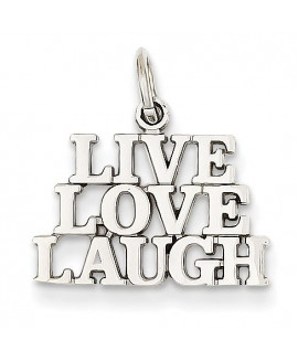 14k White Gold Polished Live Love Laugh Charm