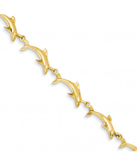 14k 8in Solid Polished Open-Back Dolphin Bracelet