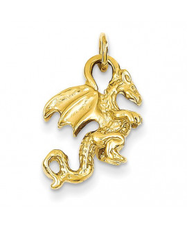 14k Solid Polished 3-Dimensional Dragon Charm