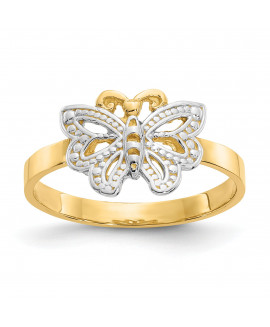 14k & Rhodium Butterfly Ring