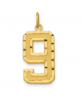 14ky Casted Large Diamond Cut Number 9 Charm