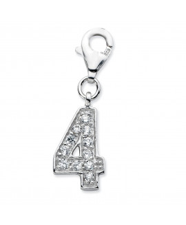Sterling Silver CZ Numeral 4 w/Lobster Clasp Charm