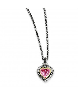 Sterling Silver w/14k 8mm Created Pink Sapphire Necklace