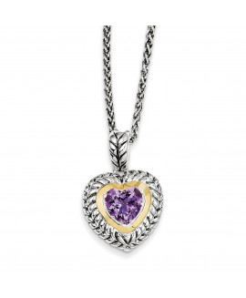 Sterling Silver & 14k 1.82Amethyst Heart 18in Necklace