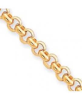 14k 7.5in 7mm Polished Fancy Rolo Link Bracelet