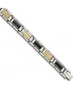 Stainless Steel Black IP-plated Wire and 14K 8.5in Bracelet