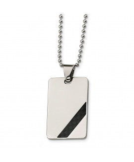 Stainless Steel Polished Black Carbon Fiber Inlay 24in Necklace
