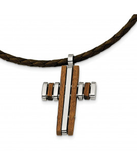 Stainless Steel Wood Accent Cross Pendant 18in Necklace