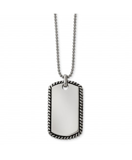 Stainless Steel Twisted Rope Edge Dog Tag Pendant Necklace
