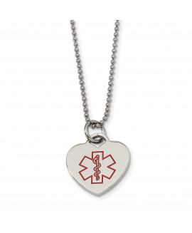 Stainless Steel Heart Shaped Medical Pendant 22in Necklace