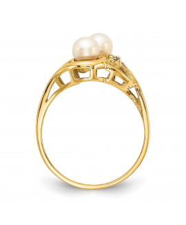 14k 4.5mm FW Cultured Pearl AAA Diamond ring