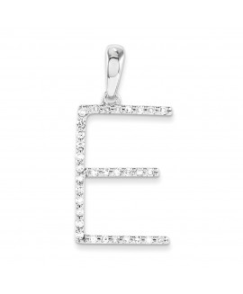 14k White Gold Diamond Initial E Pendant
