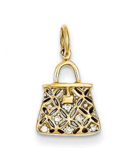14k Diamond Purse Charm