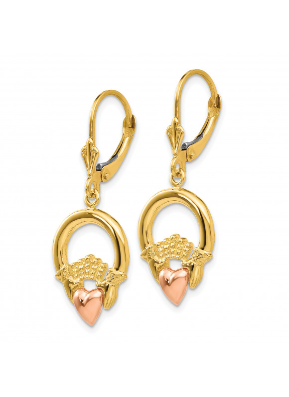 14k Claddagh Leverback Earrings