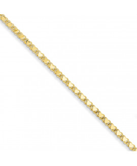14k Polished Double-Sided Heart Anklet