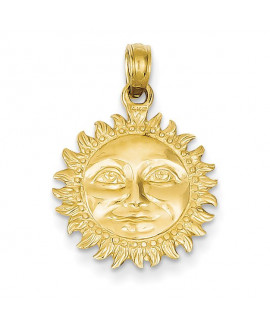 14k Solid Polished 3-Dimensional Sun Pendant