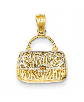 14k & Rhodium Reversible Heart Handbag Pendant