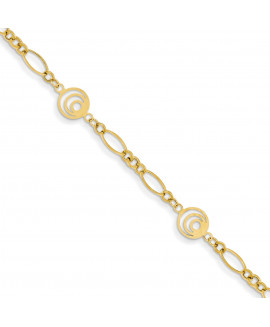 14k Oval & Circles Design Bracelet
