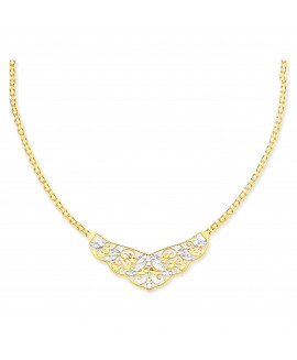 14k with Rhodium 17in Diamond-cut Open-Back Filigree Design Necklace