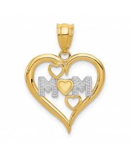 14k & Rhodium Diamond-cut Mom Heart Pendant