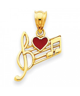 14k Music Scale with Red Enameled Heart Pendant