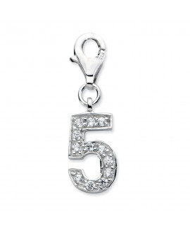 Sterling Silver CZ Numeral 5 w/Lobster Clasp Charm