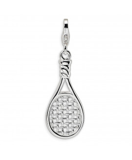 Sterling Silver 3-D Polished Tennis Racquet w/Lobster Clasp Charm