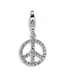 Sterling Silver Small CZ Peace Sign w/Lobster Clasp Charm