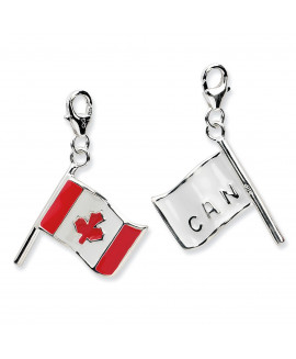Sterling Silver 3-D Enameled Canadian Flagw/Lobster Clasp Charm