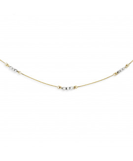 14K Two-Tone Mirror Beaded Necklace