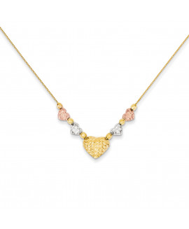 14k Tri-color Puff & Flat Hearts Necklace