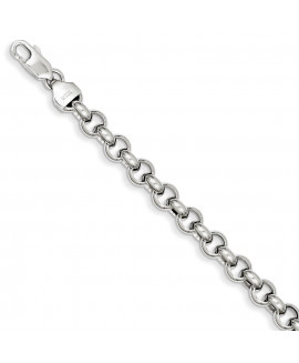 14k White Gold 7.5in 6.25mm Polished Fancy Rolo Link Bracelet