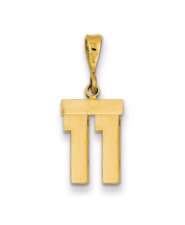 14k Small Polished Number 11 Charm
