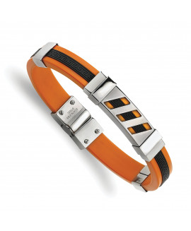 Stainless Steel Black and Orange Rubber 8in Bracelet