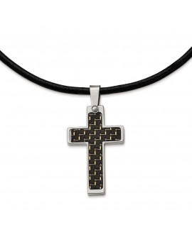 Stainless Steel Black Carbon Fiber Inlay Cross 18in Leather Cord Necklace