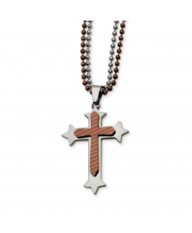 Stainless Steel Brown IP-plated Cross 24in Necklace