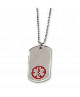 Stainless Steel Large Dog Tag Medical Pendant 22in Necklace