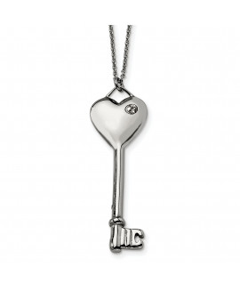 Stainless Steel Heart with CZ Key Pendant Necklace