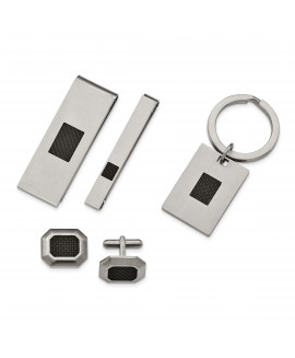 Stainless Steel Brushed Black Carbon Fiber Inlay 4-piece Boxed Set