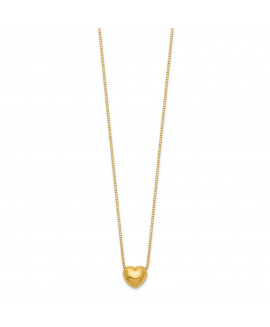 14k 16 Chain with Heart Charm Necklace