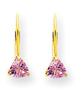 14k 5mm Pink Tourmaline Leverback Earrings
