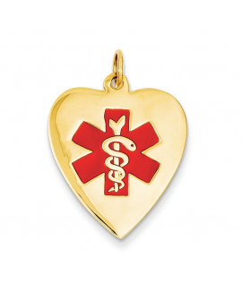 14k Heart-Shaped Polished Enameled Engravable Medical Jewelry Pendant