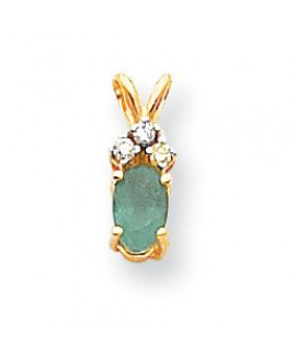 14k 6x4mm Oval Emerald VS Diamond pendant